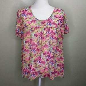 a.n.a. Flutter Sleeve Sheer Floral Top with Cami L